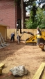 installation of a goliathtech helical screw pile metal post foundation
